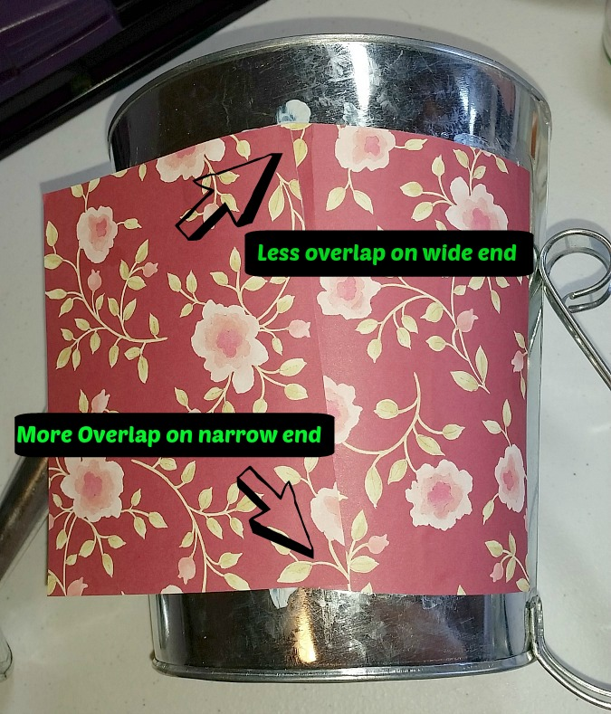 Overlap the next piece of craft paper taking care to measure more on the wide end