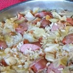Skillet Cabbage, Sausage and Rice Dinner.Find the recipe at intelligentdomestications.com