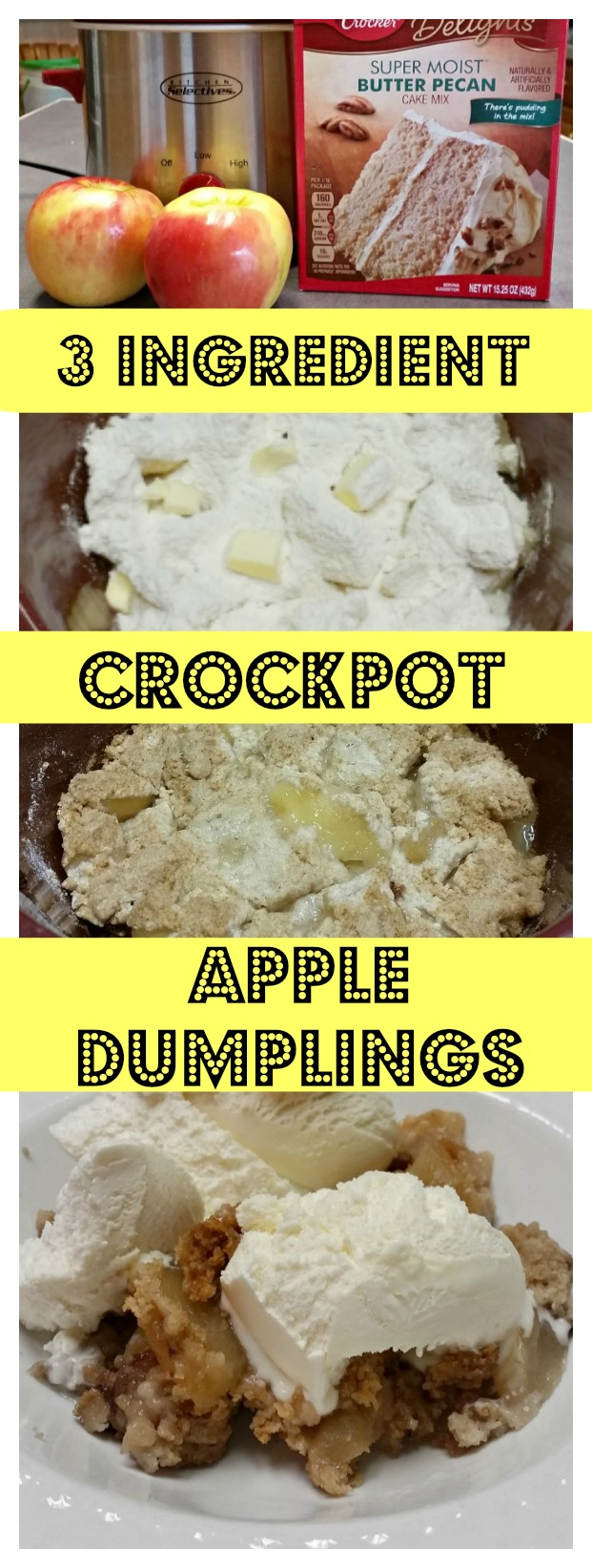 Crockpot Apple Dumplings recipe. Easy recipe made from scratch using fresh apples. Delicious Fall dessert. #apples