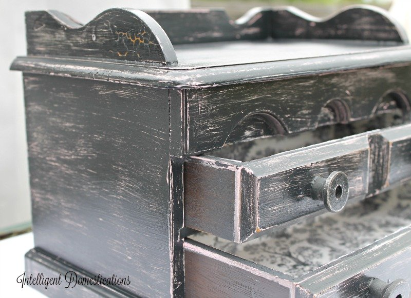 Jewelry Box Upcycle project complete. Step by step with beautiful results at intelligentdomestications.com