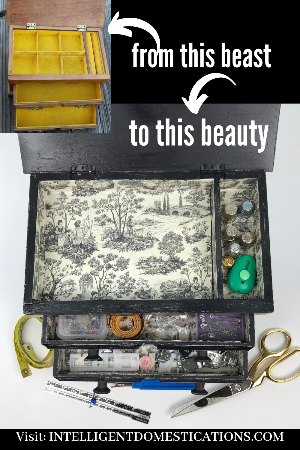 An old vintage jewelry box and a new pretty jewelry box