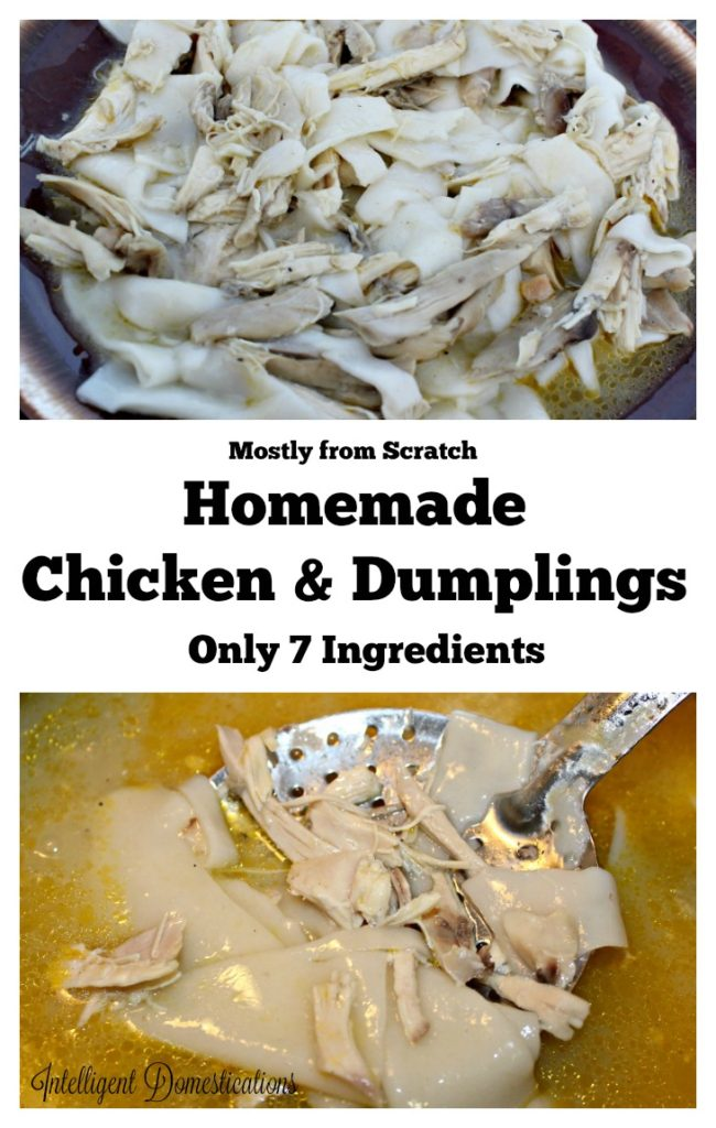 Mostly from scratch Homemade Chicken and Dumplings easy recipe. If you love Chicken and Dumplings but don't want to roll and cut dumplings from scratch, read this recipe! #onepotmeal #weeknightdinner #chickenrecipe