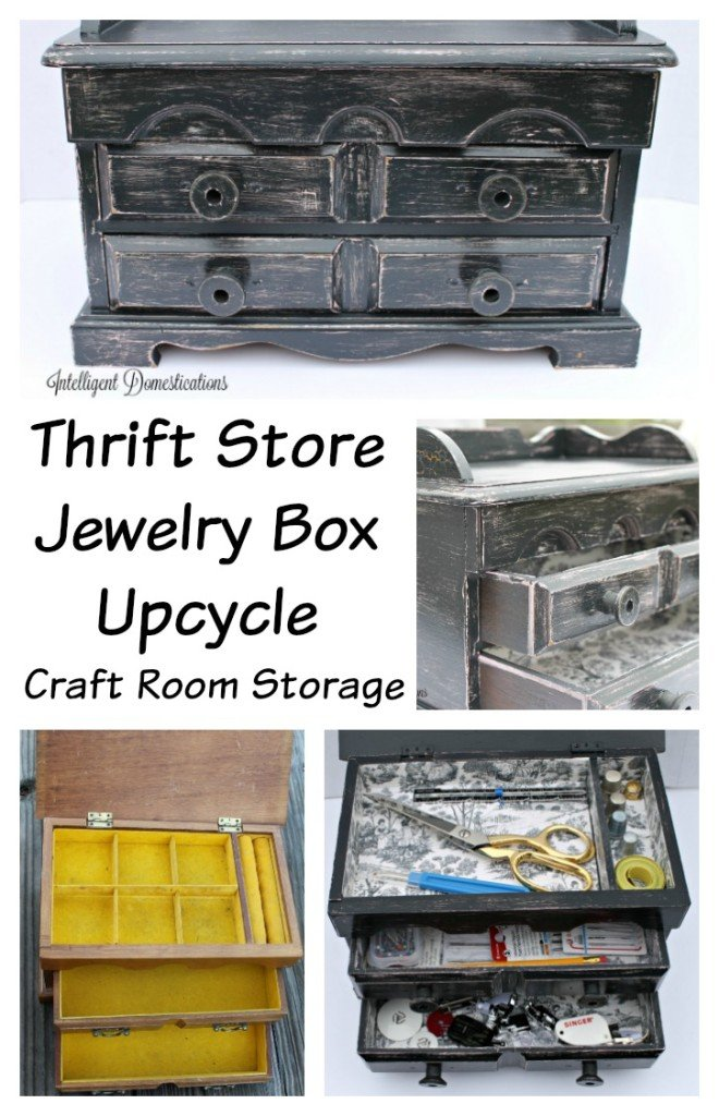 Jewelry Box Makeover. Make a sewing supply box from an old jewelry box