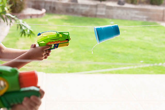 Water Gun Cup Races from All For The Boys