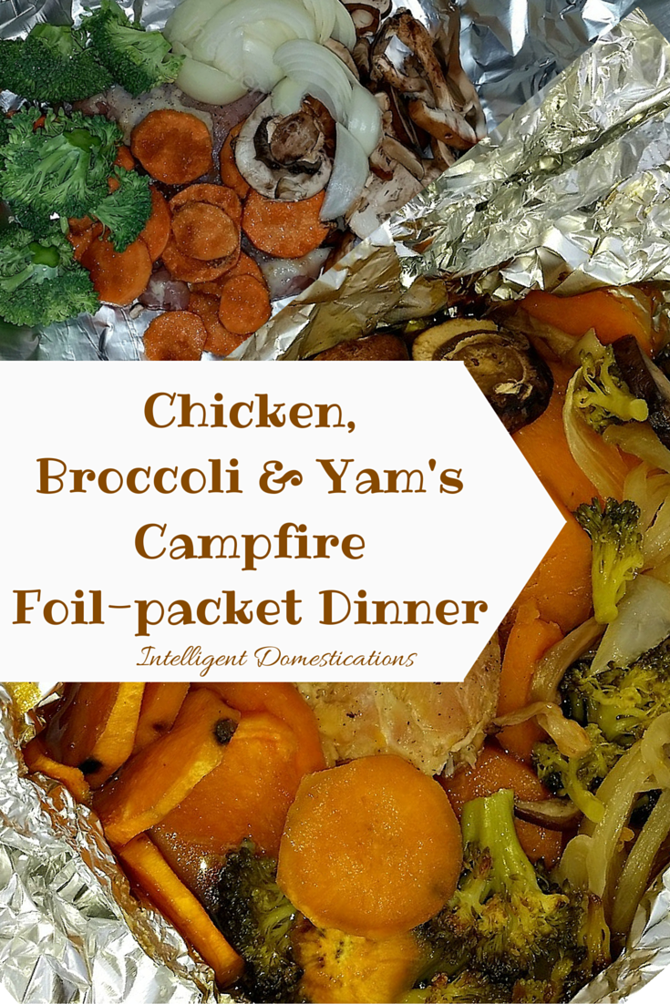 Chicken Broccoli & Yam Campfire Foil-Pack Dinner