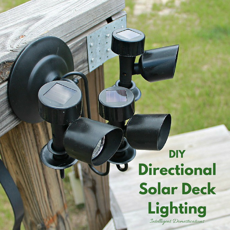 DIY Directional Solar Deck Lighting. It's a very affordable project. The sconce can be found in a thrift store and the solar lights can be found at Dollar General.