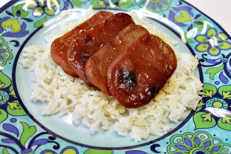Glazed Baked Spam served on a bed of rice