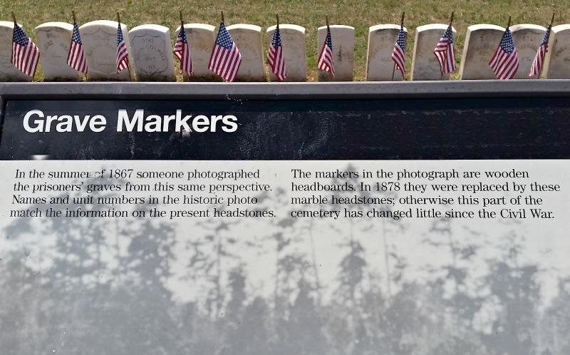 Grave marker historial information at Andersonville Civil War prison camp