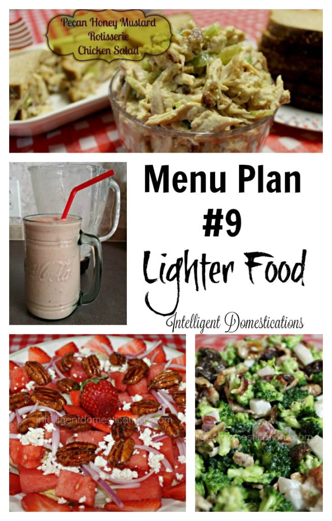 Menu Plan #9 Lighter Food includes favorite salads, sandwiches and lighter dinner ideas