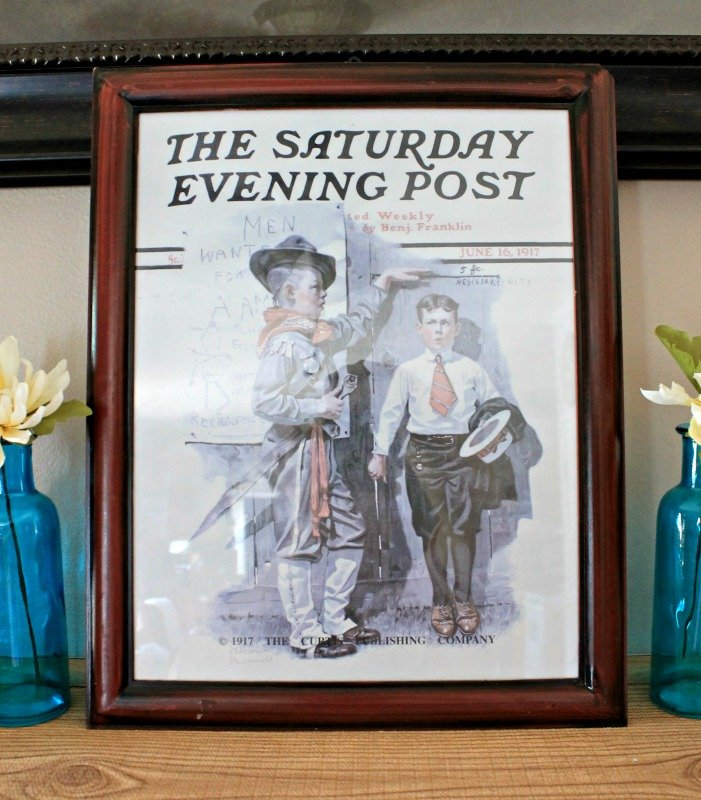 A patriotic Norman Rockwell print makes a nice addition to my summer mantel decor