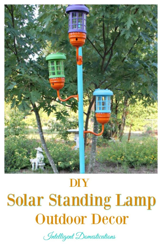 DIY Solar Standing Lamp Outdoor Decor project. Easy upcyle with a little glue and some paint. Intelligent Domestications