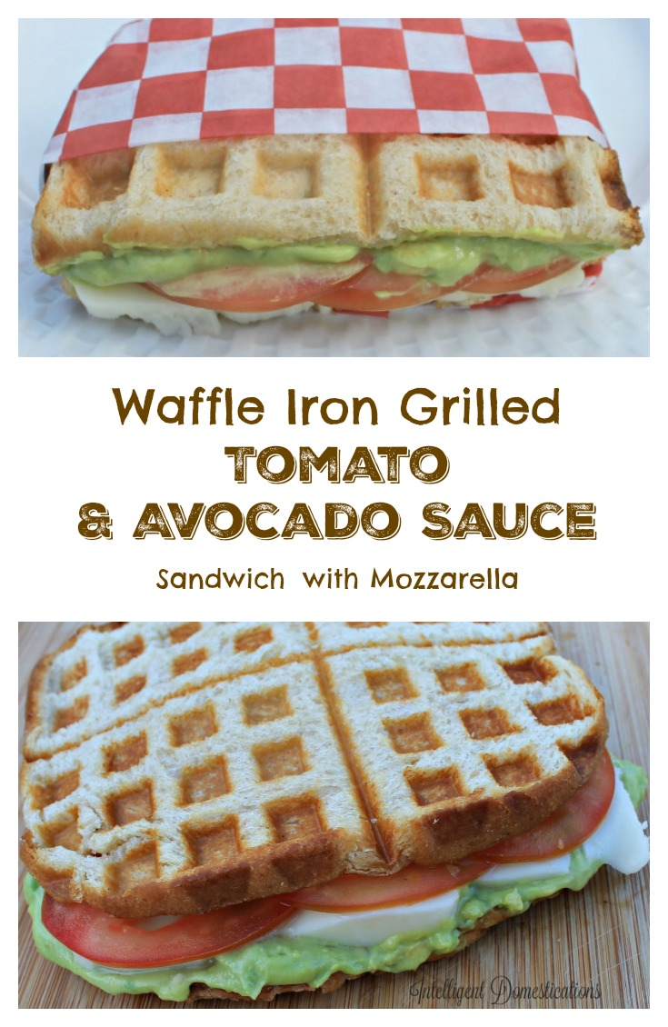 Waffle Iron Grilled Tomato & Avocado Sauce sandwich with fresh cut mozzeralla