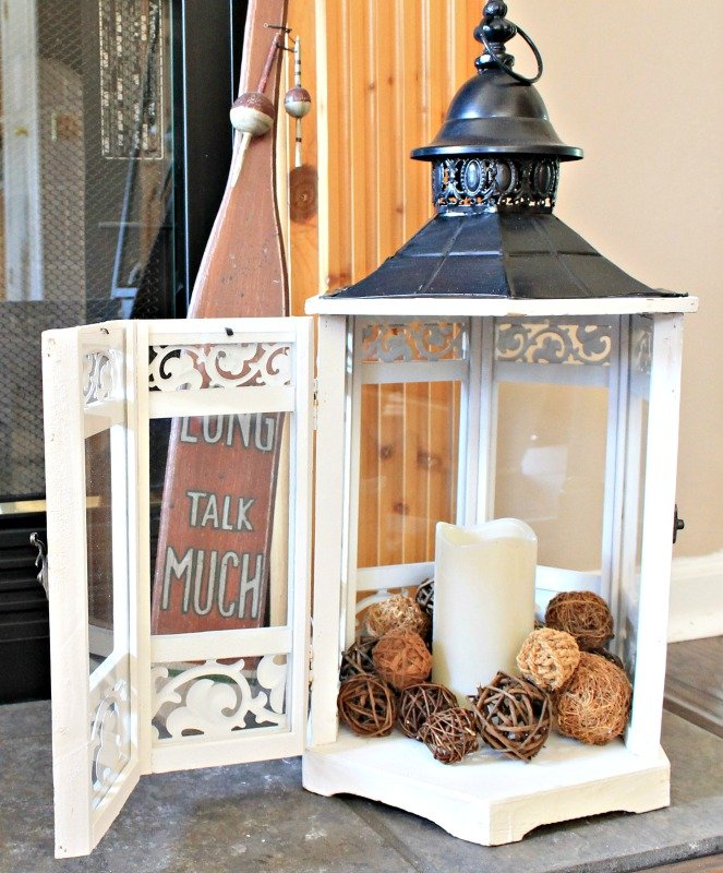 Wood and metal gazebo lantern from the At Home store for my summer mantle decor