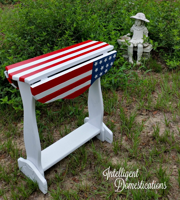 American Flag Table After Makeover with sides dropped down.intelligentdomestications.com