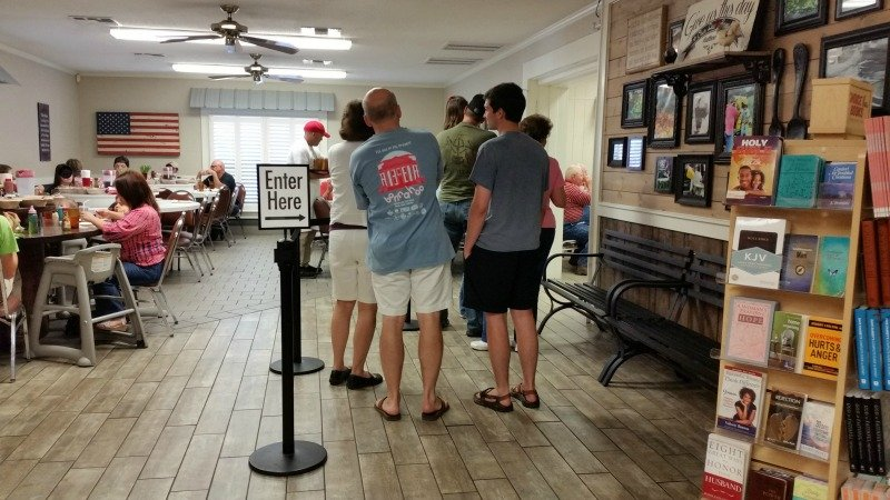 Buckners Family Restaurant. You may have to wait in line to be seated. It's a populare place