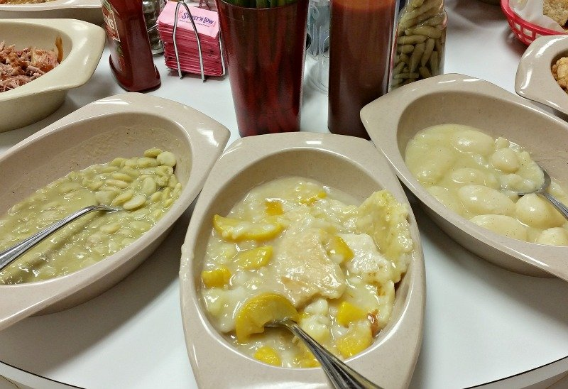 Butter beans, Peach Cobbler and Whole New Potatoes at Buckner's Family Restaurant in Jackson, Ga. jpg