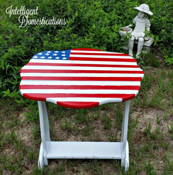 Flag Porch Table Makeover is complete and it turned out beautiful.intelligentdomestications.com