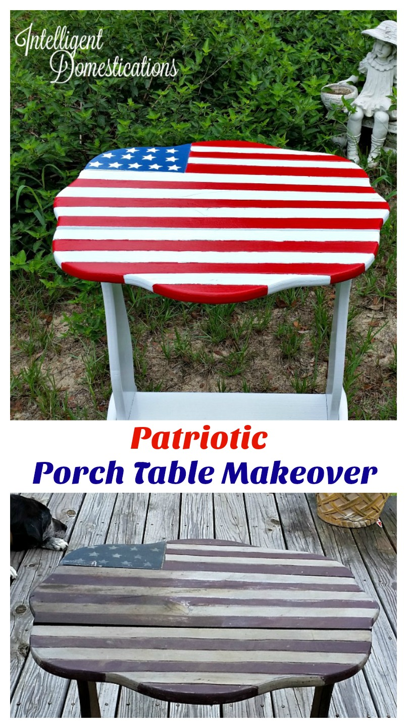 Patriotic Porch Table Makeover. New paint saves an old table.intelligentdomestications.com