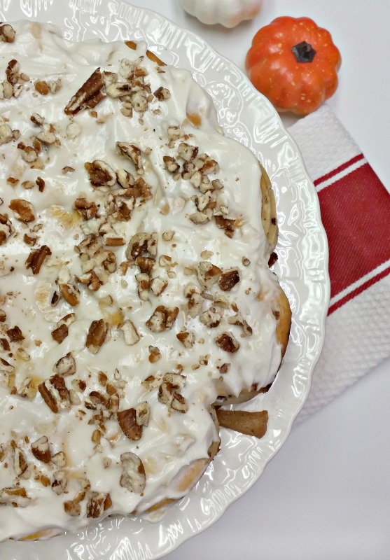 Apple Cinnamon Roll Coffee Cake with Apple flavor Cream Cheese Icing