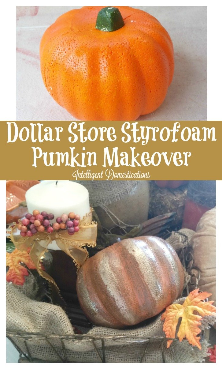 This Dollar Store Styrofoam Pumpkin makeover was done by layering different colors and types of paint with a finishing touch. See the whole process and make your own.