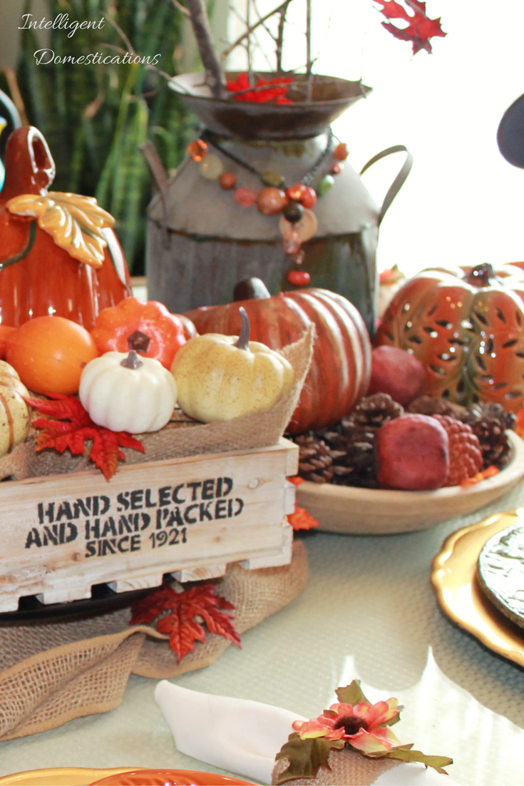 Farmhouse Style Fall Tablescape with two DIY tutorials