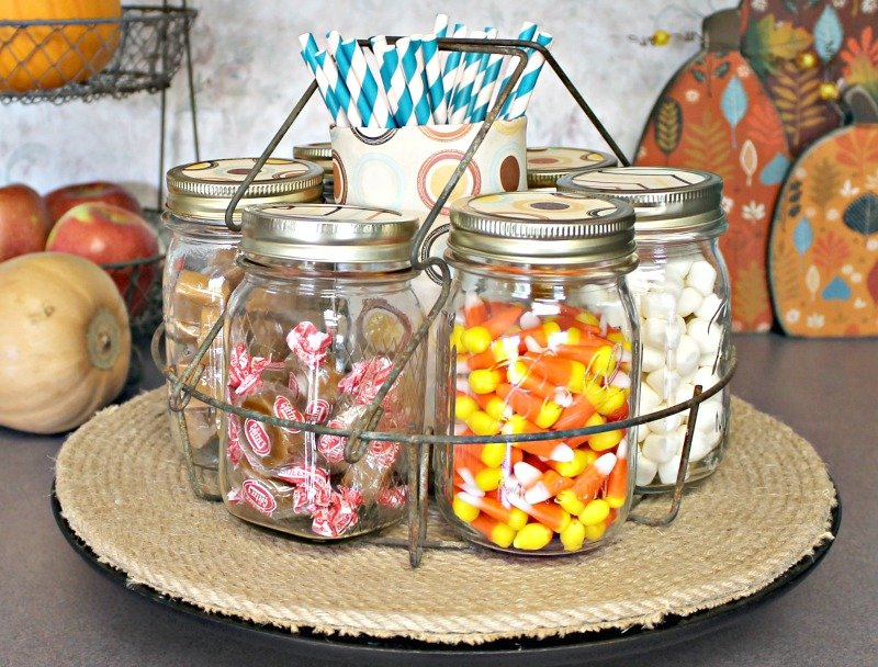 DIY Farmhouse Style Fall Candy Bar. How to easily create a farmhouse style fall candy bar. Canner rack becomes a candy bar.