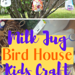 Repurpose old milk jugs into a kids craft project making Bird Houses or bird feeders. Promote kids creativity by letting them design their own Milk Jug Bird House for you yard or outdoor living space. Hang them in the trees for the birds. #kidscraft #repurpose #birding