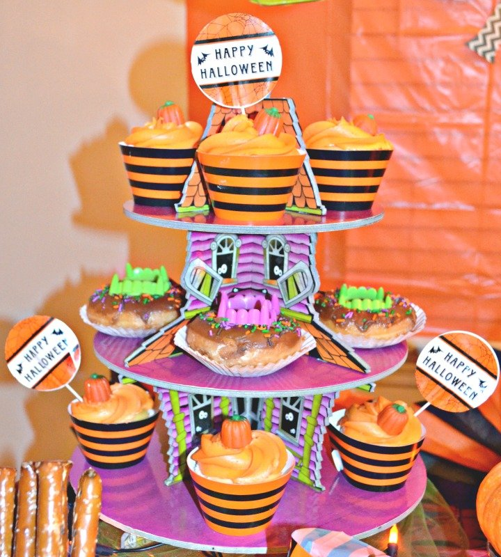 Not So Spooky Halloween Party Ideas. Halloween party cupcake stand with treats.