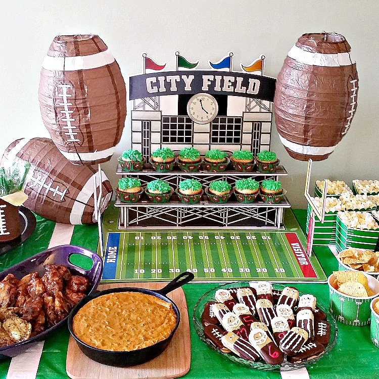Football party ideas including an amazing recipe for 3 Ingredient Crockpot Wings. Football party. Football party food.