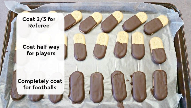 How To Make Football Character Cookies for your Superbowl or Game Day party. Football Party Cookies with jersey numbers and helmets. No baking required. Easy pictorial How-to. #superbowlpartyfood #footballcookies