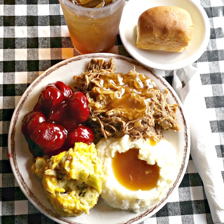 roast-beef-mashed-potatoes-and-gravy-squash-casserole-beets-roll-and-sweet-tea