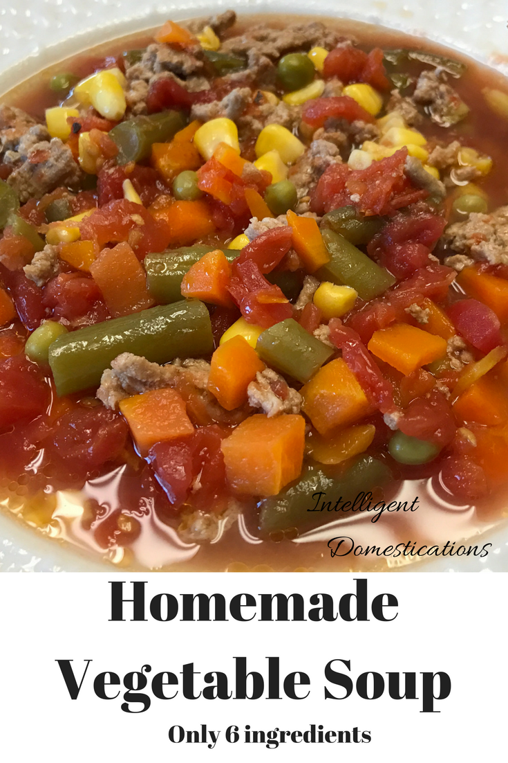 Homemade Vegetable Soup recipe with only 6 ingredients and packed with flavor.