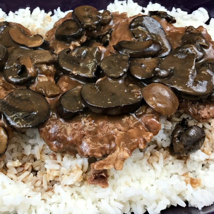 Crockpot Cube Steak & Mushroom Gravy easy recipe