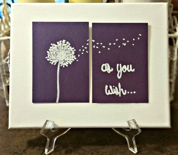 How to Make Blowing Dandelion Canvas Art when you have no art skills. Anyone cane make this free hand for your home decor! #diy #blowingdandelion
