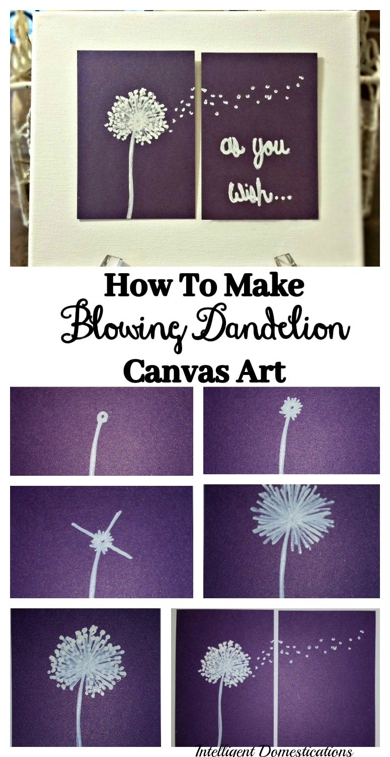 How to make blowing dandelion canvas art for your home or office. How to draw a blowing dandelion. How to draw a blowing flower