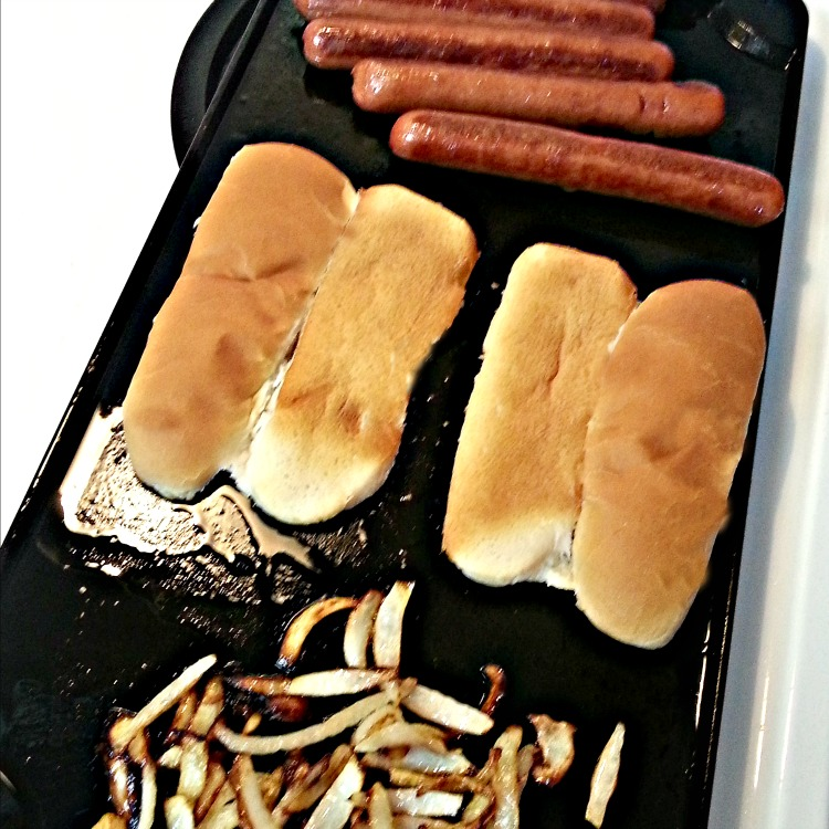 Stovetop Grilled Hot dogs are even more tasty with grilled buns and onions.
