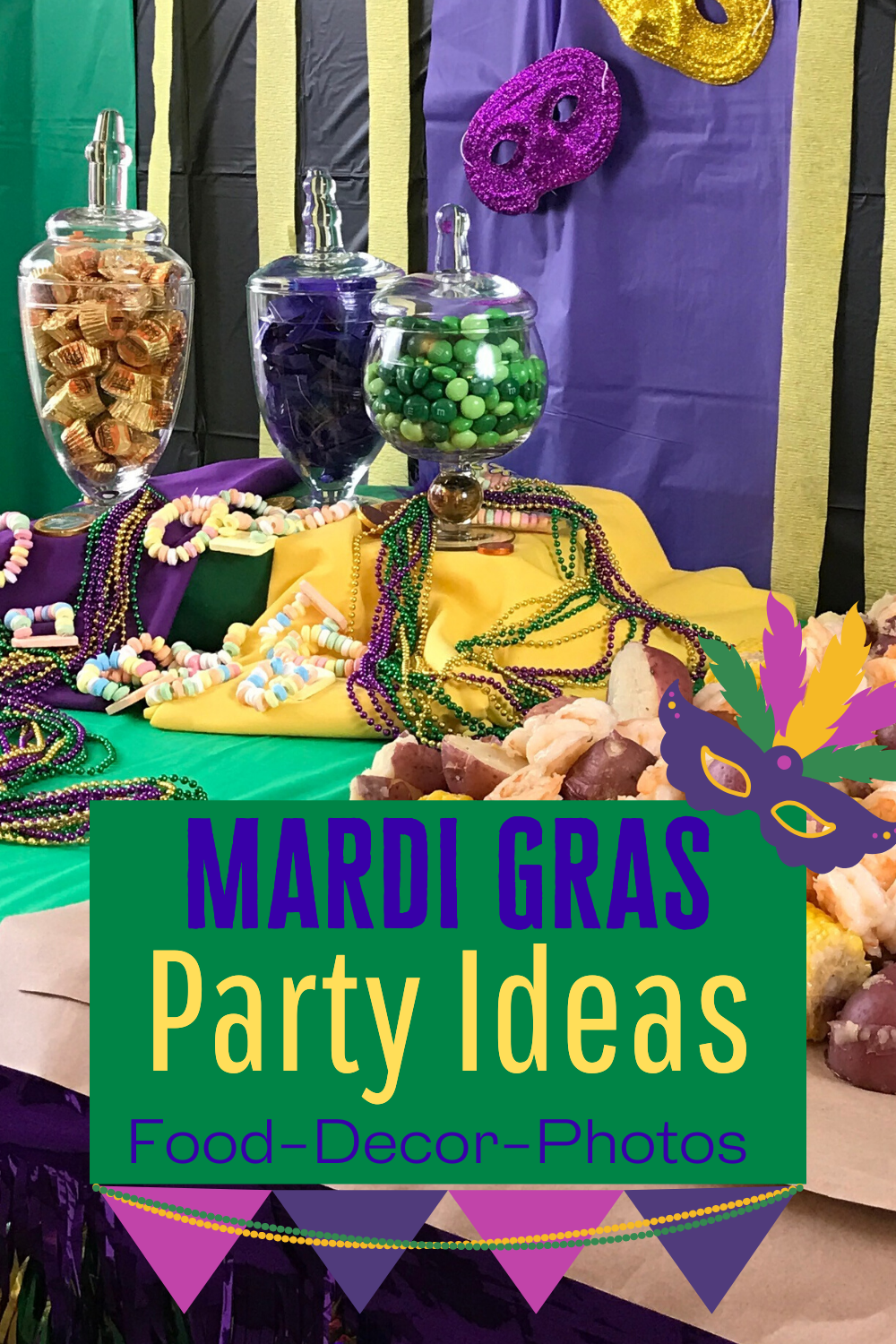 Our Mardi Gras party ideas are a simple but fun family get together with food and photo booth included. Simple colorful decorations anyone can create on the cheap. Recipes you can make at home like we did. #mardigrasparty #intellid