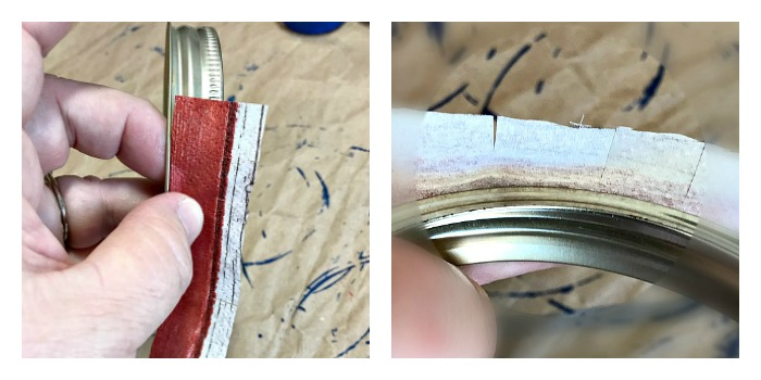 How to glue the napkin on the the Mason jar ring edge
