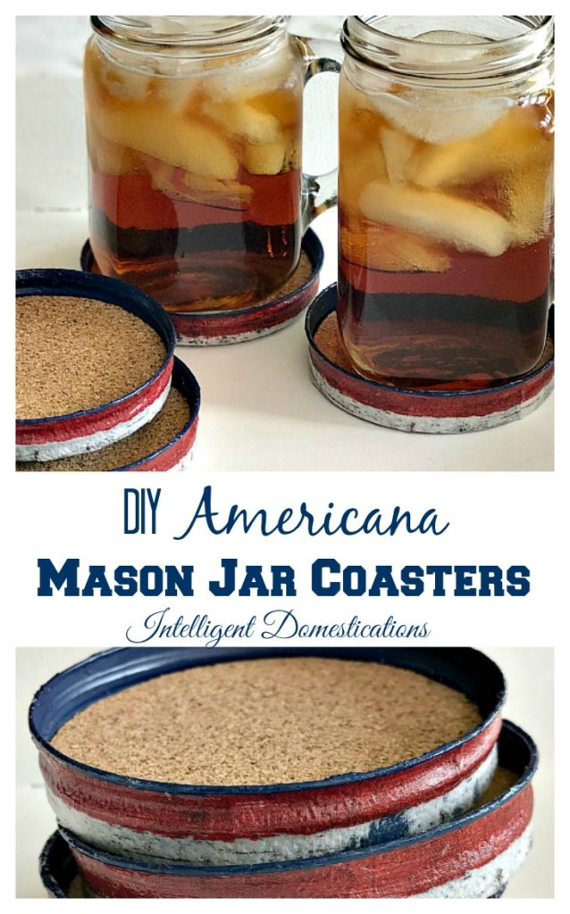 How to make your own Americana Mason Jar Coaster set. It's an easy project involving paint and glue anyone can do. See our tutorial for the easy step by step directions. Intelligent Domestications