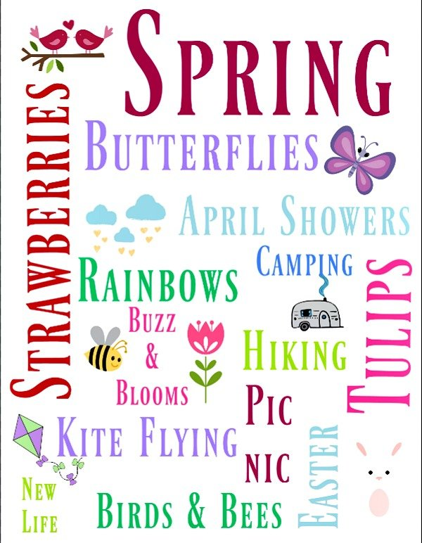 Spring Subway Art free printable. 8x10 size with lettering to edge of paper