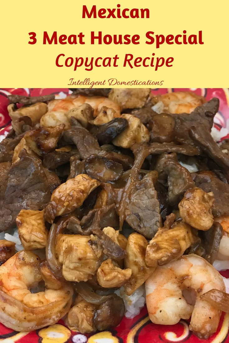 Mexican Three Meat House Special coypycat recipe. Shrimp, chicken and beef served on a bed of seasoned rice slathered with white cheese and grilled mushrooms and onions. You can get this as the house special at any Mexican restaurant.