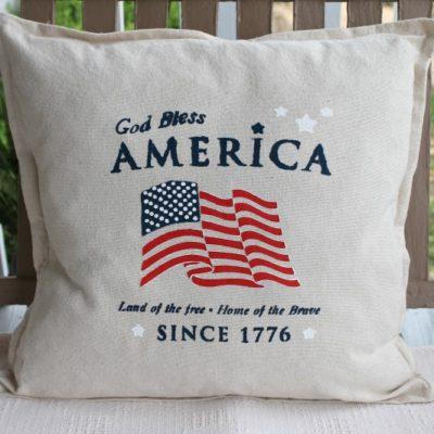 DIY Stenciled Americana Drop Cloth Pillow Cover