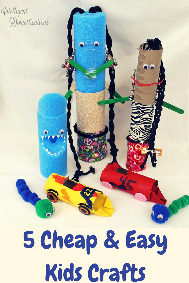 5 Easy and Cheap Kids Crafts. Use what you have in the craft room and around the house for craft time. Summer craft ideas for kids.