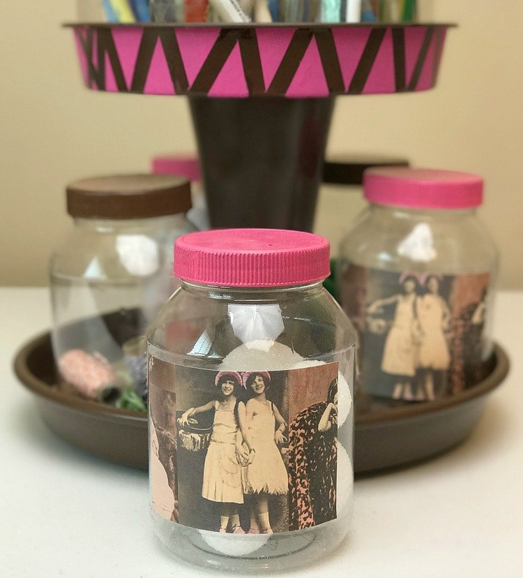 Repurposed mayonnaise jars make great craft room storage