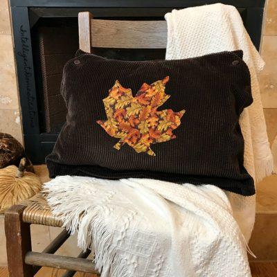 DIY Corduroy Fall Leaf Pillow
