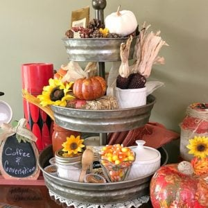 Fall Hot Beverage Bar in a Three Tier Tray
