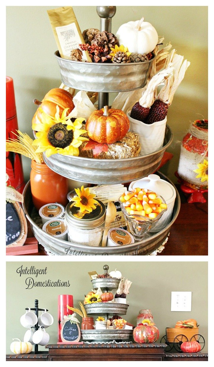 Tiered Fall Coffee Bar. Hot Beverage Bar set up on antique buffet. Fall coffee bar. Fall Hot beverage bar.