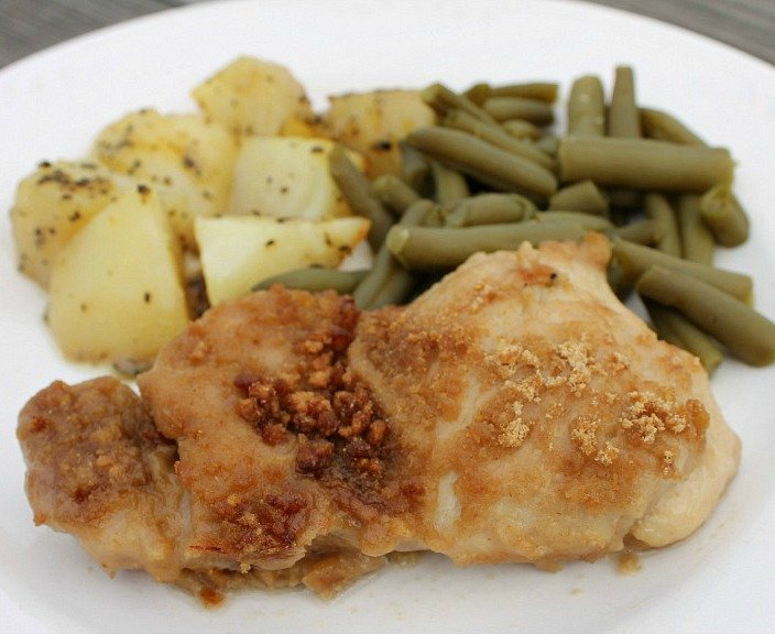 Cereal crusted baked chicken thighs ready to eat