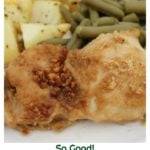 Cheerios crusted baked chicken thigh recipe. Only two key ingredients needed to make this baked chicken recipe. Can be baked in a sheet pan dinner with fresh vegetables.