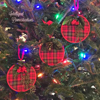 Red Plaid Embroidery Hoop Christmas Ornament
